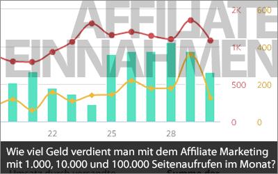 Wie viel Geld verdient man mit dem Affiliate Marketing mit 1.000, 10.000 und 100.000 Seitenaufrufen im Monat?